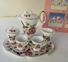 FINE PORCELAIN 10 PIECE MINATURE TEA SET HUMMING BIRDS & FLOWERS NEW IN BOX