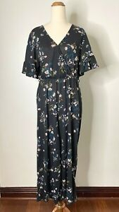 Cotton On Size Large BNWT Black Floral Wrap Short Bell Sleeve Ankle Jumpsuit