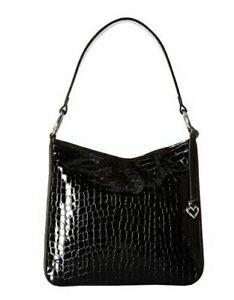 NWT Brighton CHER Shoulderbag Purse Bag BLACK Croc Leather MSRP $295