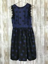 Anthropologie Corey Lynn Calter Blue Black Split Polka Dots Dress Open Back 4 *