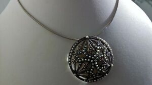 ✨ MAJESTIC✨ 925 sterling silver pearl marcasite fully HM pendant brooch necklace