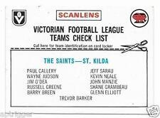 1976 Scanlens CHECKLIST St. Kilda (Very Good)