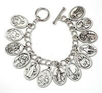 Silver Tone Catholic All Saints Medals Charm Bracelet-Blessed by Pope on request