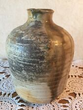 Pottery Vase Heavy signed small unusual tans and grays