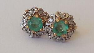 Pretty, petite, 9ct yellow/white gold, emerald, diamond stud earrings, 7mm, .84g
