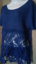 Ladies HWA blue laced middle blouse srt slv sz M