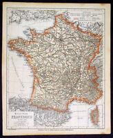 1867 Ravenstein Antique Map of France