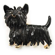 Esmalte Negro Cachorro Perro Broche Tono Dorado ()