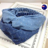 Women Girl Retro Boho Ripped Blue Denim Cross hair head wrap tie headband band