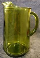 EXCELLENT VINTAGE AVOCADO GREEN LARGE HEAVY GLASS 2 QT TABLE BEVERAGE PITCHER