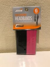 AVIA HeadBands Pack of 6 Black And Pink Fitness Slim Running Factory Sealed