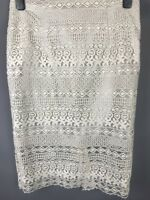 M&S Autograph Size 10 Pencil Skirt Cream Lace Overlay Floral Sheer Hem