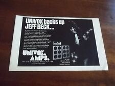 1973 Vintage B&W Promo Print Ad for Univox Amps Featuring Jeff Beck 8.25 X 5.5""
