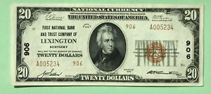 1929 $20. T2 FIRST NATIONAL BANK AND TRUST CO. OF LEXINGTON KENTUCKY KY Ch # 906