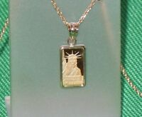 PURE .9999 GOLD ~1~GRAM ~ STATUE of LIBERTY  BAR ~ 14-KT GOLD  PENDANT ~ $114.88
