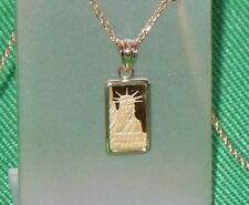 PURE 9999 GOLD ~1~GRAM ~ STATUE of LIBERTY  BAR ~ 14-KT GOLD  PENDANT ~ $100.88