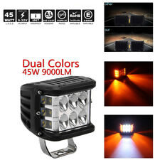 """4"""" 45W Side Shooter Pods Combo LED Work Light Off-road Driving Lamp White+Yellow"""