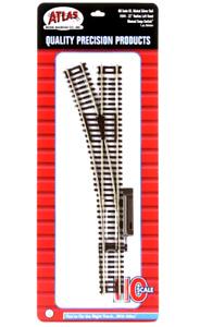 "Atlas #544 Left Hand Manual 22"" Radius Switch Track - HO Scale - Code 83 Rails"