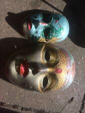 2x Lovely Brass and Enamel Face Mask  Ornament Wall Hanging Vintage