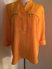 NWT Michael Kors Vintage Yellow Long Sleeve/roll Up 3/4 Shirt Blouse Sz 10  $111
