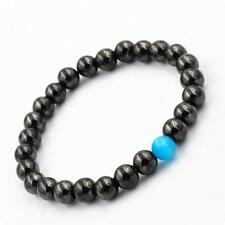 8mm Black Obsidian Agate Blue Cat Eye Stone Tibet Buddist Prayer Beads Bracelet