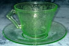 Green Depression Glass Cup and Saucer Hazel Atlas Florentine #2 Poppy 30's