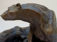 Pair of Bronze Polar Bears on a Solid Marble Base Sculpture. Art, Gift.