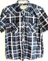 Roebuck & Co. Mens Western Pearl Snap Shirt, Extra Large-XL, Blue Plaid