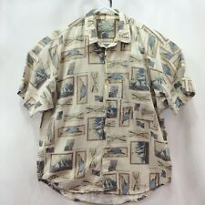 American Eagle Shirt Mens Size S Boat Cotton Tan Brown Short Sleeve Button Front