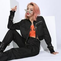 Punk Style Ribbon Zipper Jackets Women's 2019 Autumn Slim Cropped Coats Tops