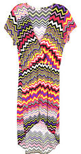 Jon & Anna New York Womens Small Chevron Dress Asymmetrical Pink Yellow Purple S