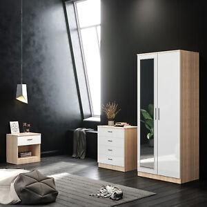3 Piece Bedroom Furniture Set Wardrobe Chest Of Drawer Bedside Cabinet
