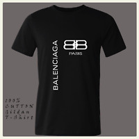 New Fashion Men Casual T Shirt 121Balenciaga1 Logo Black Tee Shirt size S-2XL