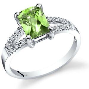 14K White Gold Peridot Diamond Venetian Ring 1.5 Carats Size 7