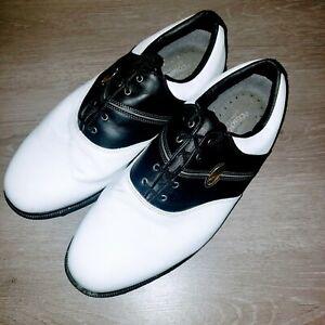 FootJoy Mens Saddle Black & White Golf Shoes Size 12 WIDE