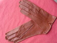 vintage gants cuir  femme 7 3/4 marron  peau fabrication française  NOS gloves