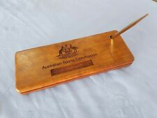 Australian Sports Commission Wooden Desk Pen Organizer Tray