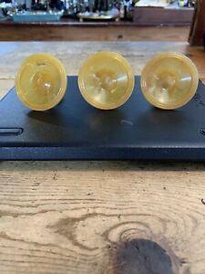 Vintage Bakelite Knobs Butterscotch Amber Yellow Original Set Of 3