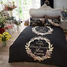 Live & Dream Scripted Black Duvet/Quilt Covers Reversible Bedding Sets All Sizes
