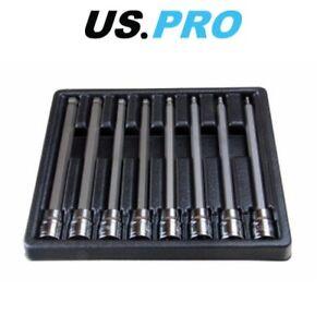 """US PRO 8pc 3/8""""  Long Ball End Hex Allen Bit Key Sockets 3mm - 10mm 1495"""