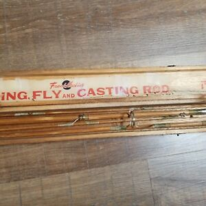Frank Hacking Bamboo SPINNING, FLY,  and CASTING Rod in Wood Case 4 PC