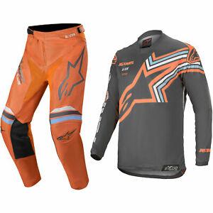 ALPINESTARS RACER MOTOCROSS MX KIT PANTS JERSEY - BRAAP GREY / ORANGE