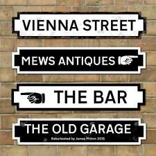 Personalised Old Fashioned Street Road Sign, Vintage Style, Black or White