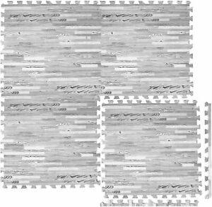 8xPcs EVA Floor Mats Interlocking Soft Thick Foam Yoga Gym Kids Tiles Grey 60x60