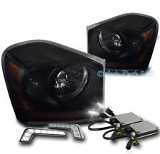 04-05 DODGE DURANGO CRYSTAL HEADLIGHTS LAMP BLACK/SMOKE LENS W/DRL LED+XENON HID