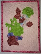 """Small Art Quilt """"Flower Bouquet""""  12""""x 9"""" Pink with Red and Green Flowers"""