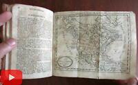 Geography 1818 Jedidiah Morse leather book 2 folding maps North America World