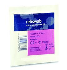 Reliswab Cotton Gauze Swabs BP  Sterile 7.5cm x 7.5cm (3 Packs of 5)