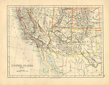 1892 VICTORIAN MAP ~ UNITED STATES SOUTH-WEST ~ ARIZONA NEW MEXICO COLORADO UTAH
