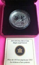 2011 Canada Hoja De Arce Forever $10 Ten Dollar Plata 1/2oz Caja de moneda Coa Nuevo